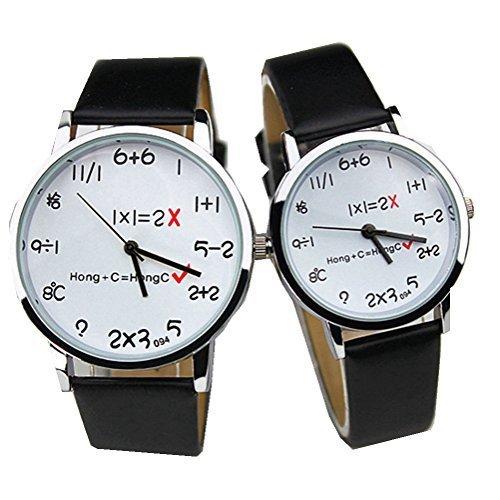 kitmax (TM) Pack Of 2Pcs Cute PU Leder Band Quarz Armbanduhr für Liebhaber und Paare (ein Big One klein)