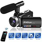 Camcorder Video Camera 1080P 30FPS Camcorder Camera 18X Digital Zoom Camcorder with Microphone 3 inches IPS 270 Degrees Rotation Screen Vlogging Camera