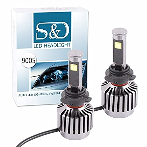 S&D New All-in-one design 60W 6,000Lm HB3 9005 Cree LED Headlight Bulbs Conversion Kit 30W Each Bulb - Plug & Play - One