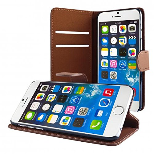 ECENCE APPLE IPHONE 6+ 6S+ PLUS (5,5) COQUE DE PROTECTION HOUSSE POCHETTE WALLET CASE + PROTECTION D'éCRAN 42040206 Brun clair I