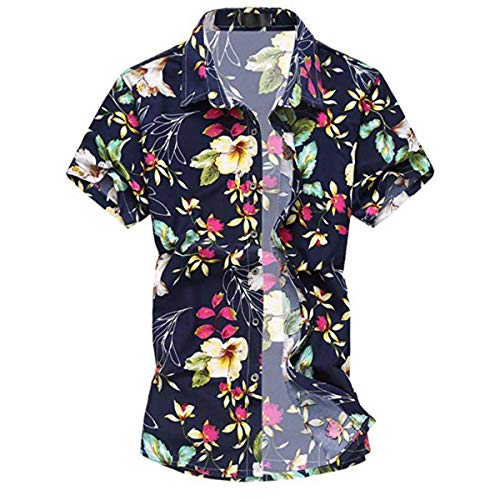 Allthemen Herren Urlaub Strand Hawaii Blattaufdruck-Hemd