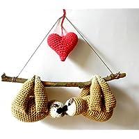 Coppia di bradipi peluche, bradipi all'uncinetto, regalo di San Valentino