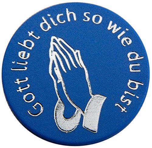 100 Pfandmarken, Wertchips, Pfandchips Einkaufswagenchipsp mit Logo Durchmesser 23mm, zweiseitig bedruckt P6-Gott liebt dich so wie du bist einfarbig blau von SchwabMarken