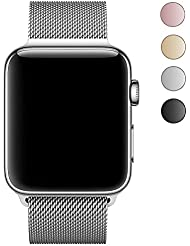 LEEHUR Apple Watch Bracelet, 38mm Apple Watch Band Milanais avec le Fermoir Magnétique Unique Acier Inoxydable Bracelet Strap pour Apple Watch Séries 1 Séries 2 Séries 3 - Argent