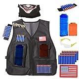 Foxom Conjunto para Serie Nerf N-Strike Elite Blaster,El paquete táctico incluye: Chaleco táctico + Máscara facial + 30pcs espuma Dardos + Pulsera + Gafas protectoras + 2 piezas Recarga rápida Clip para 12 dardos y 6 dardos