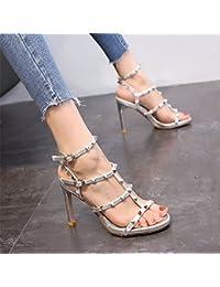YMFIE Estate donna sandali fibbie rivetti scarpe a punta e tacchi alti,35 UE,b