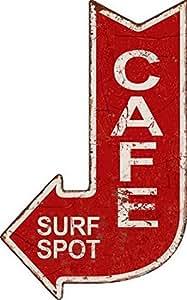 Targa pannello cafe surf spot freccia vintage pub bar metallo caffè