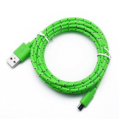 lon Ladekabel, Geflochten Sync Datenkabel Netzkabel Ladegerät Kabel für Android Smartphones, Samsung Galaxy S6/S7/S7 Edge, Kindle, HTC, Sony, Nexus und mehr (Grün, 3M) ()