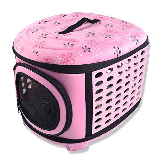 Tping Weich Hundetragetasche Haustier Tasche Hundetasche Umhänge Tragetasche Transporttasche für Kleine Hunde Welpen Katze 45x37x30cm (Rosa)