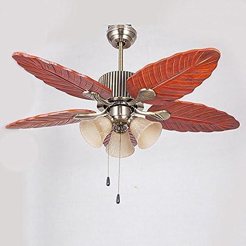 SSBY Antique en fer forgé feuille ventilateur plafonniers, fan des feuilles de créatif lampe, lustre de salon salle à manger fan