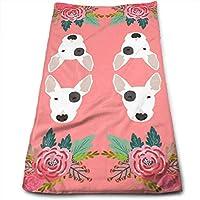 ewtretr Toallas De Mano, Bull Terrier Floral Flowers Bull Multi-Purpose Microfiber Towel Ultra