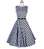 GAOLIM Kleid Blau Und Schwarz Wave Point Kragen Kragen Led Rock Damen Kleid, M, Blau