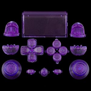 Sticks und Tasten Set / Mod Kit passend für PS4® Controller – transparent lila/violett