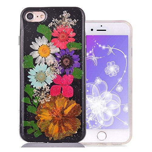 """Coque iPhone 6 Plus Floral pour Fille, Aeeque® Luxe Ultra Mince Silicone Souple Transparent Gel TPU Premium Exat Fit Handmade Main Immobilier Fleurs iPhone 6S plus/6plus 5.5"""" Rose Papillon Fleurs Coul Fleurs Noir #6"""