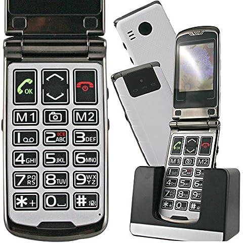 Le CLAP ROCK- Appareil photo et vidéo, 9 mémoires directes, Beau design blanc et noir, Bluetooth, MMS, SOS, Lampe, base chargement