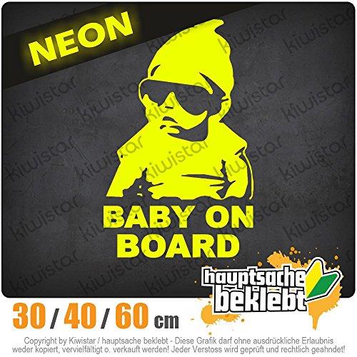 KIWISTAR - Baby on Board Kinderaufkleber Heckscheibe in 15 FARBEN Aufkleber Sticker