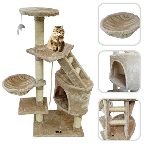 Cat-tree-with-beige-scratching-post-Scratching-post-made-of-natural-sisal
