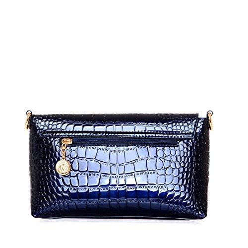 Femmina Moda Borsa Pelle Verniciata Modello Coccodrillo Borsa A Tracolla Blue