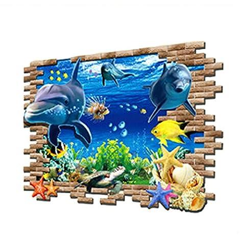 Amybria 3D Unterwasserwelt Wandtattoo Abnehmbare Wandaufkleber DIY Wohnaccessoires Wasserdichte Tapete PVC Aufkleber Wandsticker Wanddekoration für Kinderzimmer