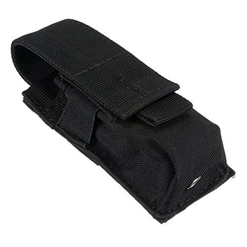 Gazechimp Bolsa de Cintura para Guardar Linterna Baterías Impermeable de Nylon de Molle Espaciosa - Negro, 14X5.5X4CM