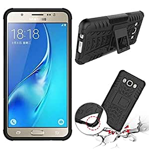 Chevron Hybrid Kick Stand Back Cover Case for Samsung Galaxy J5 - 6 (New 2016 Edition) (Black)