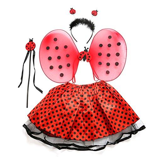 BESTOYARD Marienkäfer Kostüm Lady Bird Kostüme mit Stirnband Zauberstab Tutu Rock Set Winkel Mädchen Fairy Dress Outfit - Marienkäfer Kostüm Stirnband