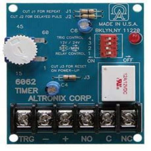 Altronix 6062 Multi-Function Timer - 12VDC or 24VDC operation, SPDT contacts rated @ 8 amp/115VAC, 1 sec. to 60 min. adjustable timing range. One seco by Altronix Altronix Timer