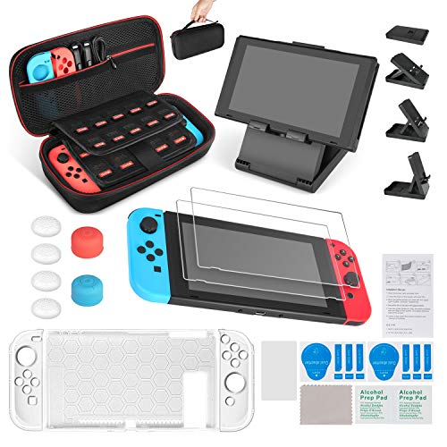 Keten 13 in 1 Nintendo Switch Zubehör, inkusive Nintendo Switch Tragbare Tasche/Nintendo Switch Hülle/Switch Ständer/Switch Displayschutzfolie (2 Mal)