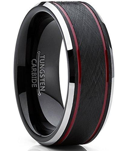 *Ultimate Metals Co.. Herren Schwarz und Rot wolframcarbid Verlobungsring mit gebürstet Center. 8mm Bequemlichkeit Passen Größe 56*