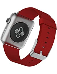JETech Muñeca Banda Reemplazo para Apple Watch 38mm Series 1 2 3, Cuero de Búfalo, con Broche de Metal, Rojo