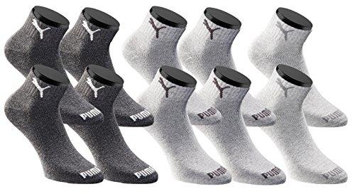 PUMA Quarters Socken Sportsocken 10er Pack Unisex - Anthracite - Gr. 39-42 -