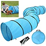 Yaheetech Pet Dog Agility Training Tunnel Game with Pegs with Carry Case, Blue,Dia-60cm,Length-546 cm