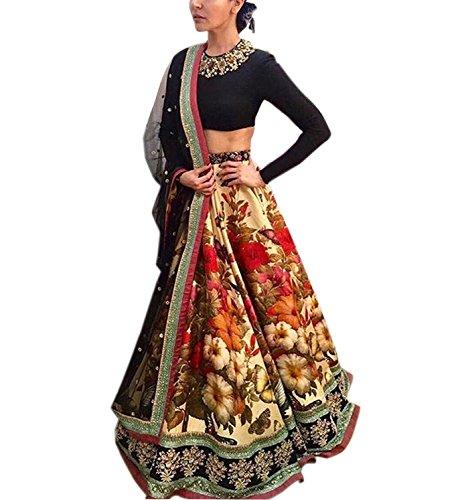 KajalFashion Silk Lehenga Choli (KFx35_0leh_Multicolor_Free Size)