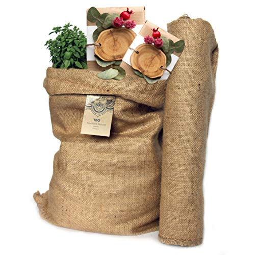 TBG Lot de 2 grands sacs écologiques en toile de jute 100 % naturelleIdéal pour cuisine, jardin et potager urbainSac écologique pour légumes, légumes verts et tuberculesOrganiseur rustique 65 x 47 cm