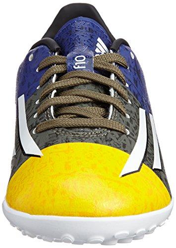 F10 TF Messi Enfants - Chaussures de Foot Or Solaire/Blanc/Vert Terre Orange