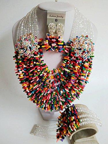 Laanc Mode du Nigeria africain traditionnel de mariage Perles 10couches Corail Ensemble de bijoux-A0005 couleur