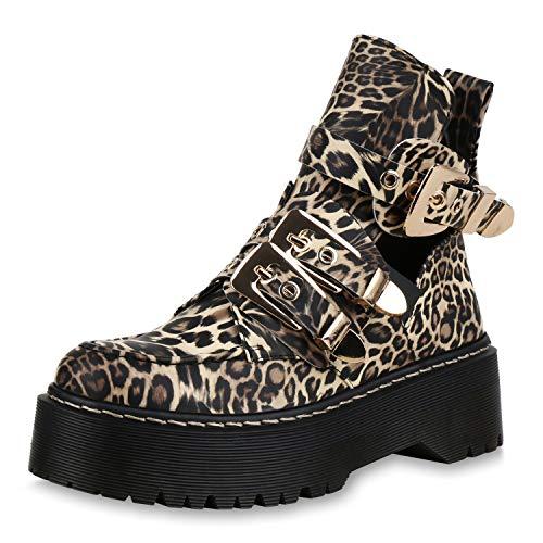 SCARPE VITA Damen Stiefeletten Plateau Boots Cut Out Ankle Booties Schnallen 173340 Leopard 40