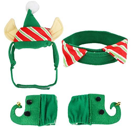 Katze Kostüm Kätzchen - Aiwind Weihnachts-Kostüm für Katzen, Hunde, Elfe, Zubehör, Mütze mit Ohrlöchern, Halsband, Bein-Ärmel für Kätzchen, Welpen, Kleine Haustiere