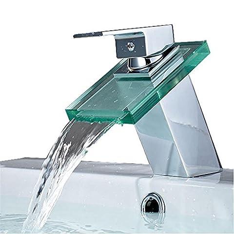 Chaine de verre contemporaine en cascade en céramique Robinet d'évier de salle de bain en chrome , no