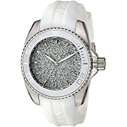 INVICTA Angel Women's Quartz Watch with Silver Dial Analogue Display and White Silicone Strap - 22702