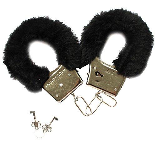 iiniim 1Paar Lingerie Handschellen aus Fell mit Zylinderschloss verstellbar Spiel-Nacht Erwachsene Gr. Einheitsgröße, schwarz
