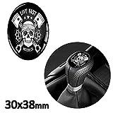 1 x Schalthebel Aufkleber Oval Schaltknauf Emblem 30 x 38mm Silikon Sticker Skull Totenkopf Schädel Auto Moto Zubehör Tuning JDM S 25