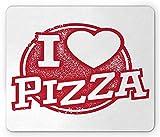 Tappetino per mouse dicendo, Grunge I Love Pizza Lettering a forma di cuore e timbro in gomma tema alimentare, Rettangolo di dimensioni standard Tappetino per mouse antiscivolo in gomma, Vermiglio e b