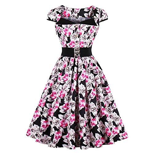 Ladyjiao Damen Jahrgang Kleider Floral Rockabilly Kleid Partykleid (Kostüme Damen Halloween Hübsche)