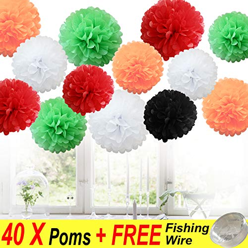 (40 Stück MIX Seidenpapi PomPoms PomPons Blumen Hochzeit Party Dekoration (40X Poms-Halloween + Xmas))