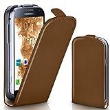 Samsung Galaxy S4 Mini | Hülle Braun [OneFlow 360° Klapp-Hülle] Etui thin Handytasche Dünn Handyhülle für Samsung Galaxy S4 Mini Case Flip Cover Schutzhülle Kunst-Leder Tasche