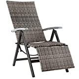 TecTake 800720 Fauteuil Relax de Jardin Pliant en Résine tressée et Aluminium, réglable en Chaise Longue, avec Repose Pieds - Plusieurs Coloris -