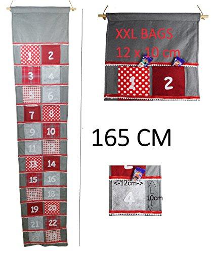 khevga Adventskalender Stoff zum Befüllen groß XXL mit großen Taschen für Kinder und Erwachsene