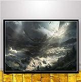 yhnjikl Videojuego Cover Destiny 2 Nuevo Mapa Paisaje Poster Art Seda Luz Lienzo Home Room Decoración de impresión de Pared 40X60Cm Sin Marco
