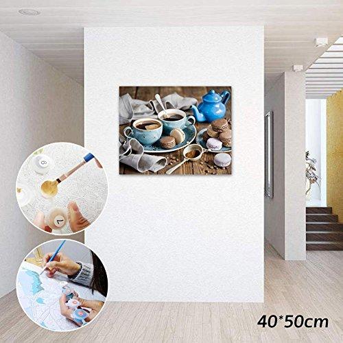 NEWSTARTS Ölkuchen DIY Malen Nach Zahlen Moderne Home Wandkunst Bild Kits Acryl Handgemalte Kaffee Malerei Für Geschenk 40x50 cm Hause DIY Malen Nach Zahlen Kreative Wohnkultur Küchen-kit